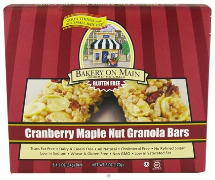 DROPPED: Bakery On Main - Granola Bars Gluten Free Cranberry Maple Nut 5 x 1.2 oz. Bars - 6 oz. CLEARANCE PRICED