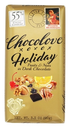 DROPPED: Chocolove - Holiday Dark Chocolate Bar 55% Cocoa Fruits & Nuts - 3.2 oz.