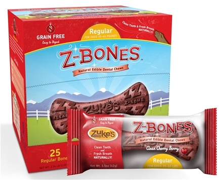 DROPPED: Zuke's - Z-Bones Natural Edible Dental Chews Regular Clean Cherry Berry - 1.5 oz. CLEARANCE PRICED