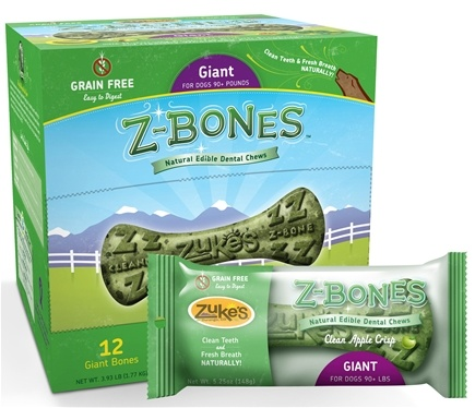 DROPPED: Zuke's - Z-Bones Natural Edible Dental Chews Giant Clean Apple Crisp - 5.25 oz. CLEARANCE PRICED