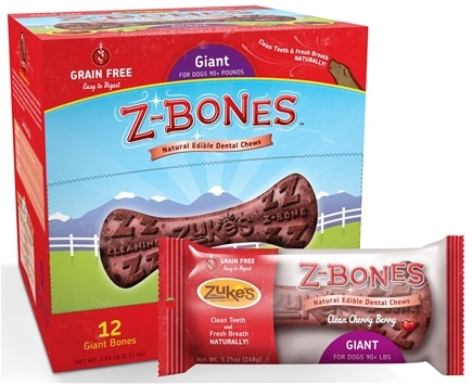 DROPPED: Zuke's - Z-Bones Natural Edible Dental Chews Giant Clean Cherry Berry - 5.25 oz. CLEARANCE PRICEED
