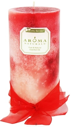"""DROPPED: Aroma Naturals - Red Heart Custom Mosaic Naturally Blended Giant Pillar Eco-Candle 3"""" x 6"""" - CLEARANCE PRICED"""