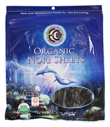 Earth Circle Organics - Raw Certified Organic Sushi Nori Sheets - 10 Sheet(s)