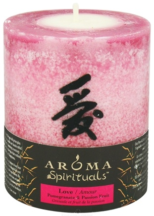 "DROPPED: Aroma Naturals - Spirituals Love Naturally Blended Pillar Eco-Candle 3"" x3.5"" Pomegranate & Passion Fruit"