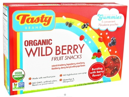 DROPPED: Tasty Brand - Organic Wild Berry Fruit Snacks Gummies - 5 Packet(s)