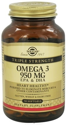 DROPPED: Solgar - Triple Strength Omega 3 EPA & DHA 950 mg. - 50 Softgels CLEARANCE PRICED