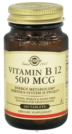 DROPPED: Solgar - Vitamin B12 500 mcg. - 100 Tablets CLEARANCE PRICED