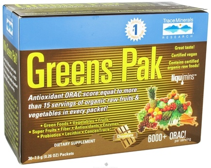 DROPPED: Trace Minerals Research - Greens Pak To Go Chocolate - 30 Packet(s) CLEARANCE PRICED