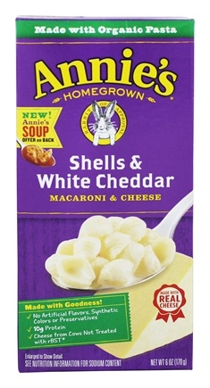 DROPPED: Annie's Homegrown - Macaroni & Cheese Shells & White Cheddar - 6 oz.