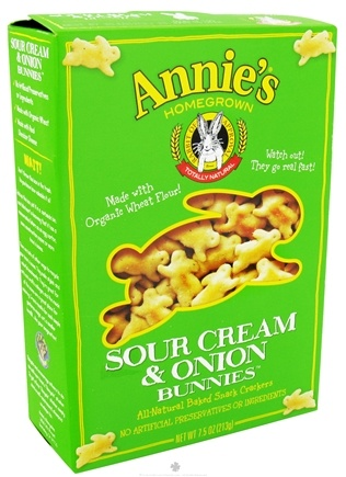 DROPPED: Annie's - Organic Bunnies All-Natural Baked Snack Crackers Sour Cream & Onion - 7.5 oz.