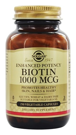 Solgar - Biotin Enhanced Potency 1000 mcg. - 250 Vegetarian Capsules