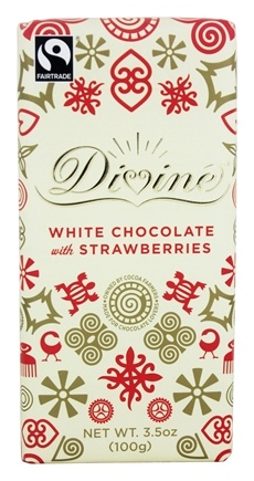 Divine - White Chocolate Bar with Strawberries - 3.5 oz.