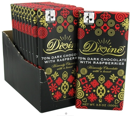 DROPPED: Divine - 70% Dark Chocolate Bar with Raspberries - 3.5 oz.