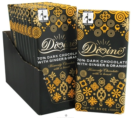 DROPPED: Divine - 70% Dark Chocolate Bar with Ginger & Orange - 3.5 oz.