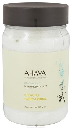 DROPPED: AHAVA - DeadSea Salt Mineral Bath Salt Relaxing Honey-Herbal - 32 oz.