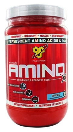BSN - Amino X BCAA Powder Endurance and Recovery Agent Blue Raz - 15.3 oz.