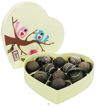 DROPPED: Sjaak's Organic Chocolate - Valentine Dark Truffle Assortment in Birdie Gift Box - 11 Piece(s)