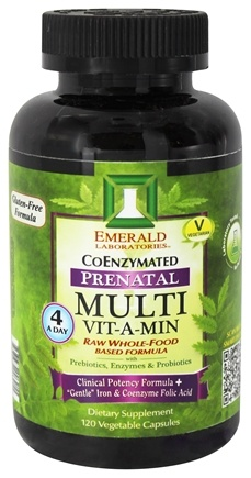 Emerald Labs - Prenatal Multi Vit-A-Min Raw Whole-Food Based Formula - 120 Vegetarian Capsules