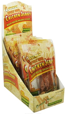 DROPPED: Caveman Foods - Caveman Chicken Jerky Spicy BBQ - 1 oz. CLEARANCE PRICED