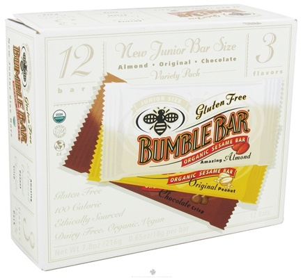 DROPPED: Bumble Bar - Organic Sesame Bar Junior Size Variety Pack - 12 Bars