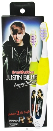 """DROPPED: Brush Buddies - Justin Bieber Singing Toothbrush """"Somebody To Love"""" & """"Love Me"""" Yellow - CLEARANCE PRICED"""