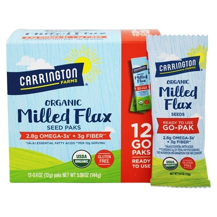 Carrington Farms - Flax Paks Flax Seeds Milled Organic - 12 Packet(s)
