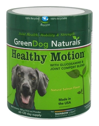Green Dog Naturals - Healthy Motion with Glucosamine & Joint Comfort Blend Powder 60-120 Day Supply Natural Salmon Flavor - 10.5 oz.
