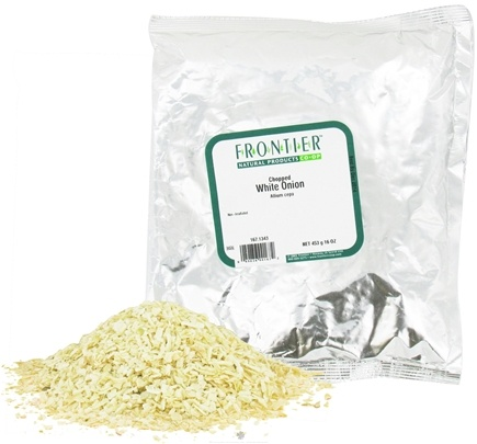 DROPPED: Frontier Natural Products - White Onion Chopped - 1 lb. CLEARANCE PRICED