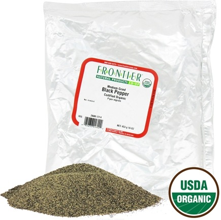 DROPPED: Frontier Natural Products - Black Pepper Medium Grind Organic - 1 lb.