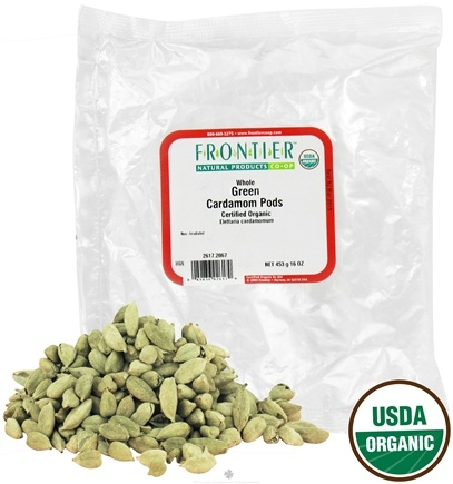 DROPPED: Frontier Natural Products - Cardamom Pods Green Whole Organic - 1 lb. CLEARANCE PRICED