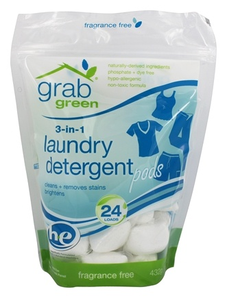 DROPPED: GrabGreen - 3-in-1 Laundry Detergent 24 Loads Fragrance Free - 15.2 oz.