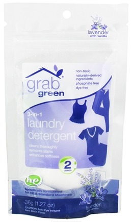 DROPPED: GrabGreen - 3-in-1 Laundry Detergent 2 Loads Mini Pouch Lavender with Vanilla - 1.27 oz.