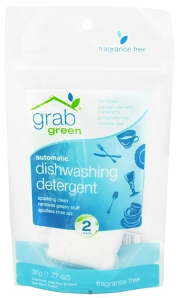 DROPPED: GrabGreen - Automatic Dishwashing Detergent 2 Loads Mini Pouch Fragrance Free - 1.27 oz. CLEARANCE PRICED