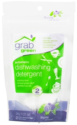 DROPPED: GrabGreen - Automatic Dishwashing Detergent 2 Loads Mini Pouch Thyme with Fig Leaf - 1.27 oz. CLEARANCE PRICED