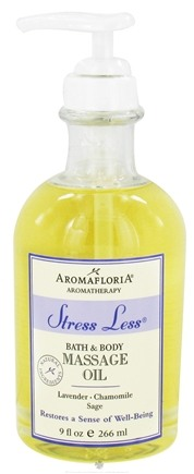 DROPPED: AromaFloria - Stress Less Bath & Body Massage Oil Aromatherapy Lavender Chamomile Sage - 9 oz.