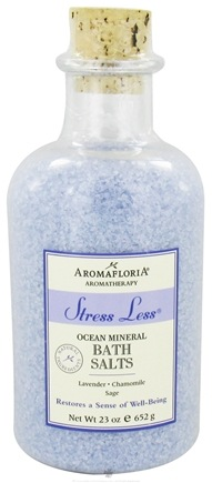 DROPPED: AromaFloria - Stress Less Ocean Mineral Bath Salts Aromatherapy Lavender Chamomile Sage - 23 oz.