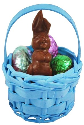 DROPPED: Sjaak's Organic Chocolate - Small Wicker Easter Basket with Milk Chocolate Bunny and Eggs - 2.1 oz.