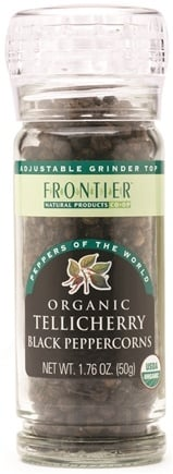 DROPPED: Frontier Natural Products - Black Peppercorns Whole Tellicherry Organic - 1.76 oz. CLEARANCE PRICED