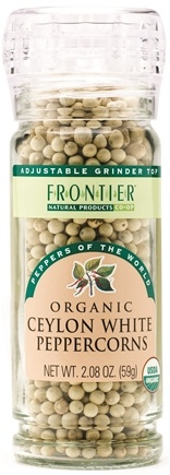 DROPPED: Frontier Natural Products - Ceylon White Peppercorns Organic - 2.08 oz. CLEARANCE PRICED