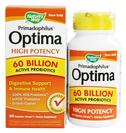 Nature's Way - Primadophilus Optima High Potency 60 Billion Active Probiotics - 30 Capsules