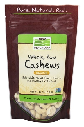 NOW Foods - Whole Cashews Raw Unsalted - 10 oz.