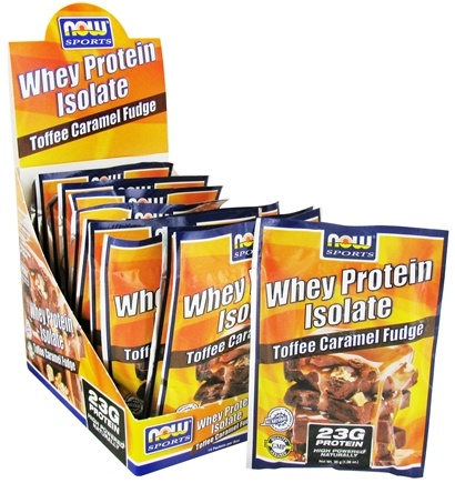 DROPPED: NOW Foods - Whey Protein Isolate Toffee Caramel Fudge - 14  x 1.06 oz. (30g) Packet - CLEARANCE PRICED