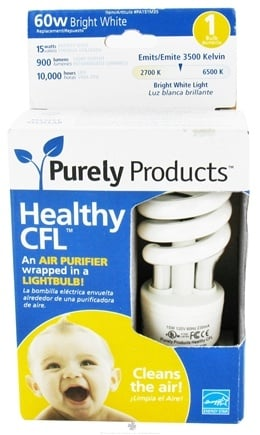DROPPED: Purely Products - Healthy CFL Air Purifier Twist Lightbulb 60-Watts Bright White - CLEARANCE PRICED