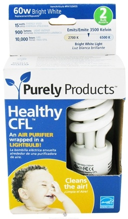 DROPPED: Purely Products - Healthy CFL Air Purifier Twist Lightbulb 60-Watts Bright White - 2 Pack CLEARANCE PRICED