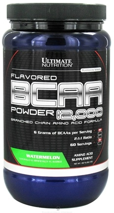 DROPPED: Ultimate Nutrition - Platinum Series Flavored BCAA Powder 12,000 Branched Amino Acid Formula Watermelon 60 Servings - 457 Grams