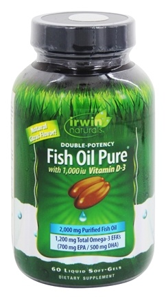 Irwin Naturals - Double Potency Fish Oil Pure Natural Citrus Flavor - 60 Softgels