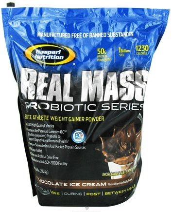 DROPPED: Gaspari Nutrition - Real Mass Probiotic Series Chocolate Ice Cream - 6 lbs.