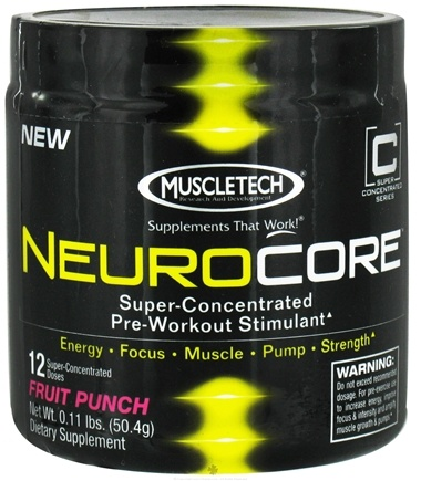 DROPPED: Muscletech Products - Neurocore Super-Concentrated Pre-Workout Stimulant Fruit Punch 12 Servings - 0.1 lbs. CLEARANCE PRICED