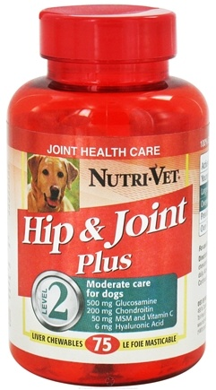 DROPPED: Nutri-Vet - Hip & Joint Plus Level 2 For Dogs Liver - 75 Chewables CLEARANCE PRICED