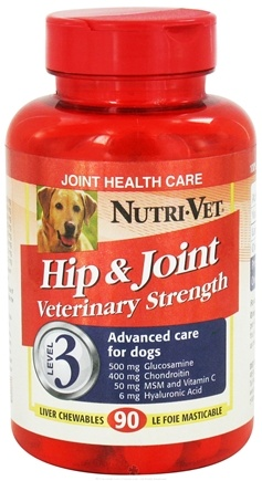 DROPPED: Nutri-Vet - Hip & Joint Veterinary Strength Level 3 For Dogs Liver - 90 Chewables CLEARANCE PRICED